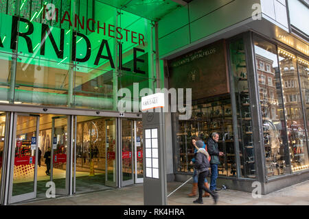Entrance to the Manchester Arndale shopping mall centre in Manchester city centre,England,UK - Stock Photo