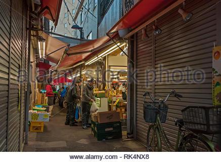 Koenji, Tokyo, Japan - December 31, 2018 : people shopping in the traditional market in Koenji, Tokyo, Japan - Stock Photo