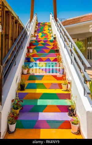 Beautiful unique colorful stairs in Tunis, Tunisia - Stock Photo