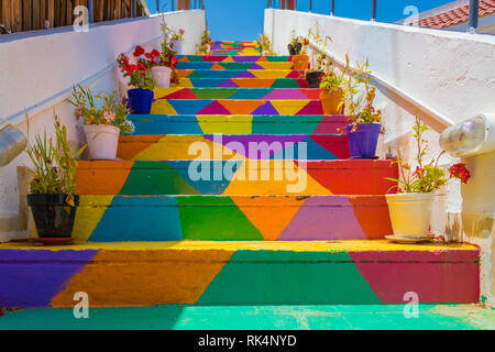 Colorful stairs In the street in Tunis, Tunisia - Stock Photo