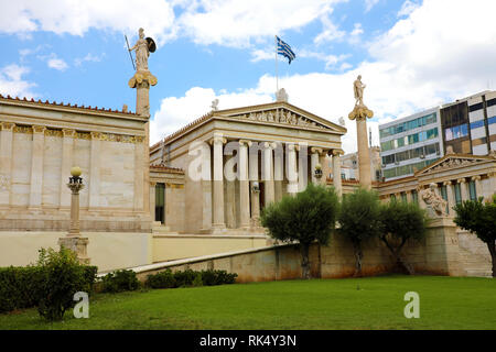 Facade of Athens Academy, Greece - Stock Photo
