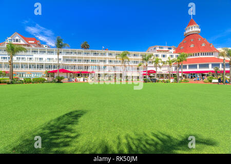 San Diego, California, United States - August 1, 2018:Coronado Hotel built in 1888, historic Victorian beach resort in Coronado used to film: Some - Stock Photo