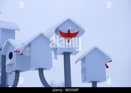 Birdhouse in winter. The snow on the birdhouse. Place for your text. - Stock Photo