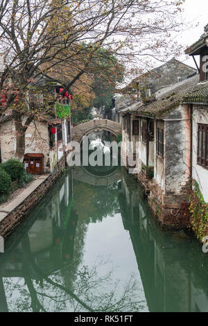 Zhouzhuang is a town famous for its canals in Jiangsu province, China, is known as the 'Venice of China' - Stock Photo