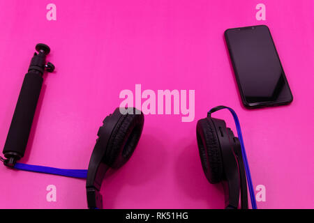 lay of accessories on gray desk background of traveler, Voyage concept. - Stock Photo