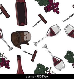 Hand drawn pattern of wine. Winemaking. Vector illustration, EPS 10 - Stock Photo
