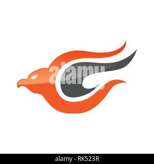 Abstract eagle bird or fantasy eagle logo template for security or airlines company - Stock Photo