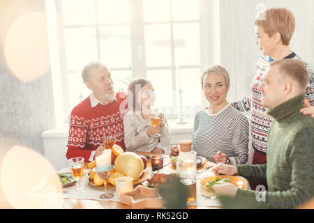 cheerful members of family have prepared for a party. best day in the life - Stock Photo