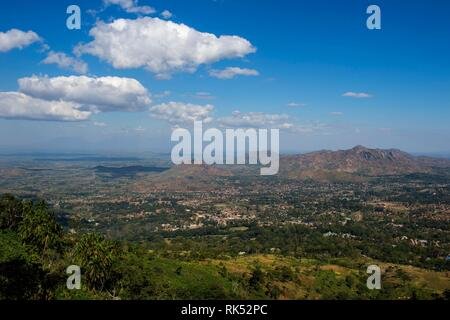 Overlook over Zomba and the highlands from the Zomba Plateau, Malawi, Africa - Stock Photo
