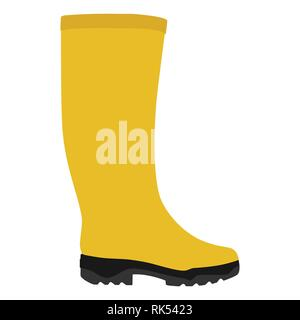 Vector illustration yellow rubber rain boots isolated on white background. Welilington boots - Stock Photo