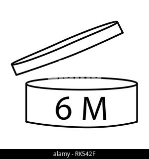 Vector illustration cosmetics symbol design. Period of validity after opening icon. Expiration date after product opening symbols. 6M - Stock Photo