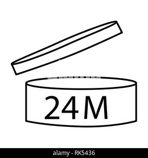 Vector illustration cosmetics symbol design. Period of validity after opening icon. Expiration date after product opening symbols. 24M - Stock Photo