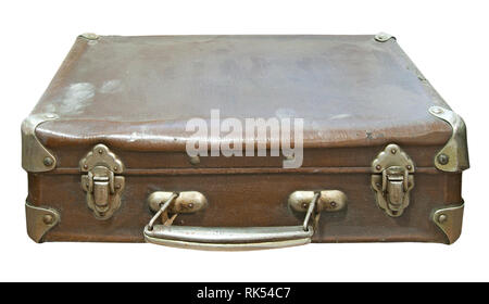 Old dirty and dusty suitcase isolated on a white background. Close up image - Stock Photo