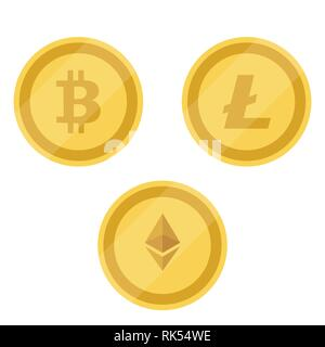 Bitcoin, Litecoin and Ethereum symbols . Competing cryptocurrencies concept. - Stock Photo