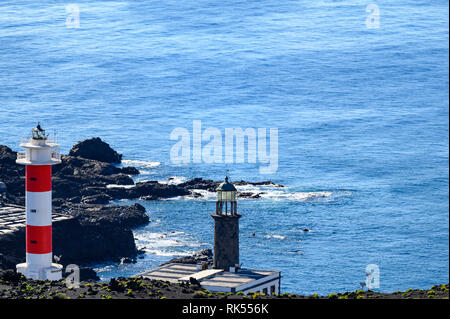 salt production and lighthouse in Fuencaliente (La Palma) - Stock Photo