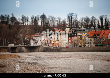 Bad Toelz, Germany - March 10, 2018: view on old town Bad Toelz and Isar river in Bavaria - Stock Photo