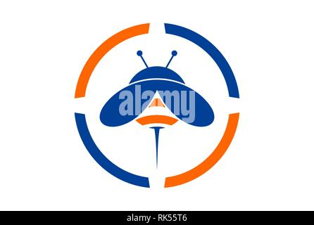 abstract bee logo concept icon brand with blue and orange color - Stock Photo