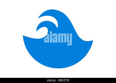 abstract blue waves logo icon brand blue color - Stock Photo