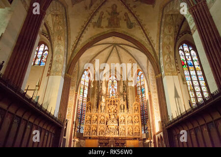 Brueggemann altar or Bordesholmer altar, Schleswig Cathedral, Schleswig, Schleswig-Holstein, Germany, Europe - Stock Photo