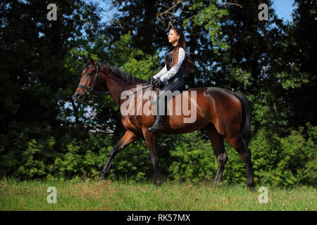 Beautiful model girl rides with horse in woods glade at sunset - Stock Photo