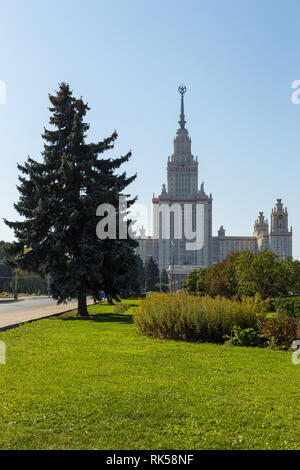 Moscow, Russia- 21 September 2014: Main building of the Moscow Lomonosov. State University. It is the tallest educational building in the world. - Stock Photo
