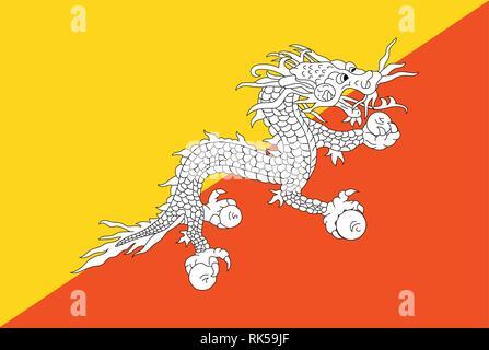 Vector national flag of Bhutan. Flag of Bhutan Kingdom button - Stock Photo