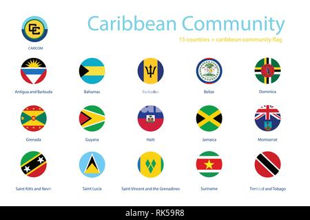 Caribbean Community member flags vector icon set. Round flag buttons of CARICOM - Stock Photo