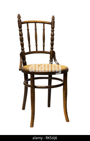 Antique Bentwood Viennese chair - furniture with Rattan isolated on white. - Stock Photo