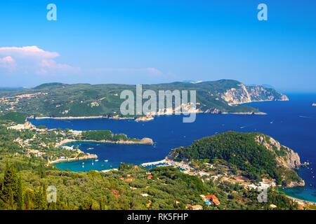 Beautiful island of Corfu, heart-shaped Paleokastritsa bay with charming and wonderful panoramic views in Greece ( Kerkyra) - Stock Photo