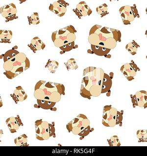 Seamless pattern of dogs. Vector illustration in cartoon style. - Stock Photo