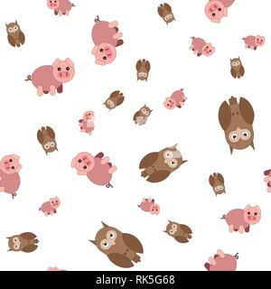 Seamless pattern made of pig and owls. Vector illustration in cartoon style. - Stock Photo