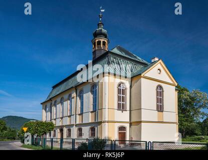 Holy Trinity Church in village of Podgorzyn near Jelenia Gora, Lower Silesia, Poland - Stock Photo