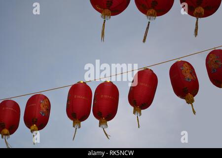 China Town lanterns close up in Soho, London, England - Stock Photo
