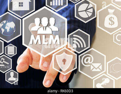 The businessman clicks the button MLM on the touch screen . The concept of multi-level marketing. - Stock Photo