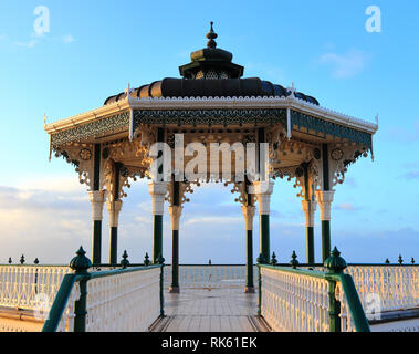 Brighton Bandstand pavilion on a quiet morning, sunlit by the winter sun in February. Victorian landmark, Brighton and Hove, East Sussex, UK.