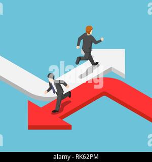 Flat 3d isometric businessman running on the different arrow in the opposite direction. Different business way concept. - Stock Photo