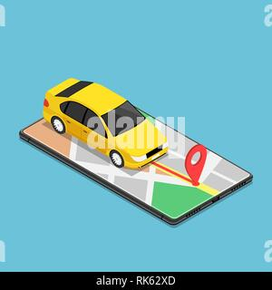 Flat 3d isometric car use gps map navigation application on smartphone. Mobile gps map navigation technology concept. - Stock Photo