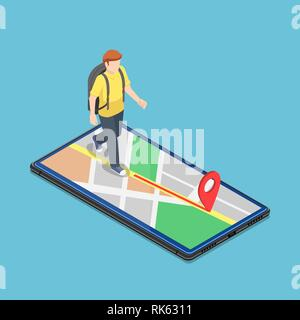 Flat 3d isometric traveller use map application on the smartphone to reach the destination. Mobile GPS navigation system concept. - Stock Photo