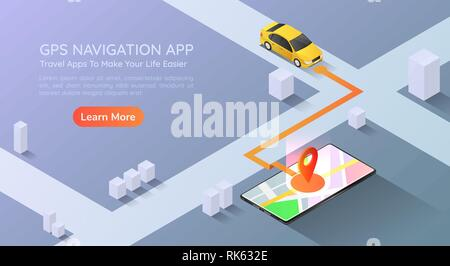 3d isometric web banner car going to pin point at the gps map navigation application on smartphone. Mobile gps map navigation technology concept landi - Stock Photo