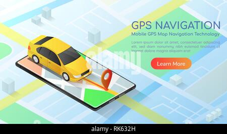 3d isometric web banner car with gps map navigation application on smartphone. Mobile gps map navigation technology concept landing page. - Stock Photo
