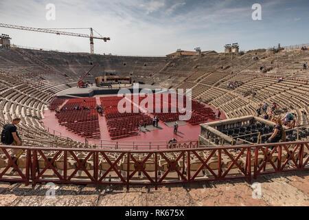 Inside view of Arena di Verona – an ancient Roman amphitheatre in Verona, Italy - Stock Photo