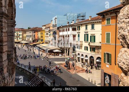 View of the Piazza Bra (square) near the Coliseum Arena di Verona, Italy. - Stock Photo