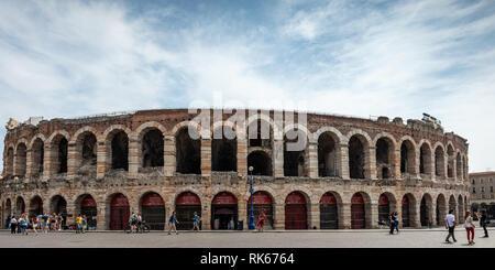 The Arena at Piazza Brà in Verona; Arena di Verona, Verona, Veneto, Italy - Stock Photo