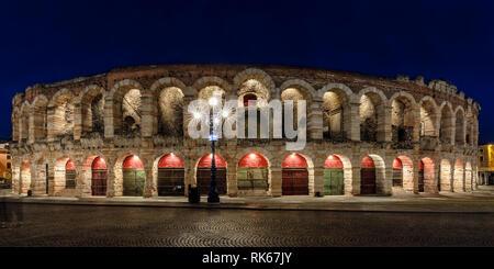 Night view of The Arena at Piazza Brà in Verona; Arena di Verona, Verona, Veneto, Italy - Stock Photo