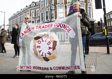 London, UK. 9th February, 2019. Members of Camden UNISON Local Government branch march through Camden in support of traffic wardens employed by NSL who are currently on strike for a period of 14 days calling to be paid £11.15/hour. Credit: Mark Kerrison/Alamy Live News - Stock Photo