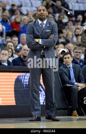 Washington, DC, USA. 9th Feb, 2019. 20190209 - Butler head coach LAVALL JORDAN watches action against Georgetown in the first half at Capital One Arena in Washington. Credit: Chuck Myers/ZUMA Wire/Alamy Live News - Stock Photo