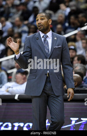 Washington, District of Columbia, USA. 9th Feb, 2019. Butler Bulldogs head coach LAVALL JORDAN during the second half against the Georgetown Hoyas at Capital One Arena. Credit: Terrence Williams/ZUMA Wire/Alamy Live News - Stock Photo