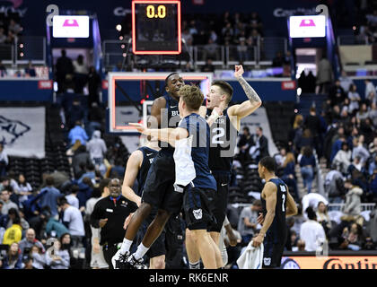 Washington, District of Columbia, USA. 9th Feb, 2019. Butler Bulldogs players celebrate win against the Georgetown Hoyas at Capital One Arena. Credit: Terrence Williams/ZUMA Wire/Alamy Live News - Stock Photo