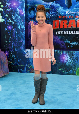 California, USA. 9th Feb 2019. Scarlet Spencer at the premiere of 'How To Train Your Dragon: The Hidden World' at the Regency Village Theatre. Picture: Paul Smith/Featureflash Credit: Paul Smith/Alamy Live News - Stock Photo
