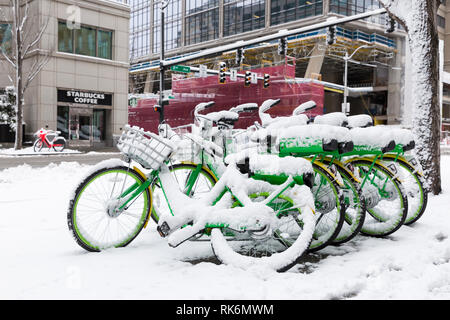 Washington, USA. 9th Feb 2019. A collection of LimeBikes are parked along 2nd Avenue as a strong winter storm blankets Seattle in six inches of snow. Credit: Paul Christian Gordon/Alamy Live News - Stock Photo